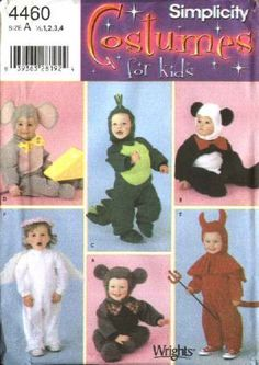 Simplicity Sewing Pattern 4460 Toddlers Boys Girls Size ½-4 Costumes Bear Dinosauer Mouse Panda