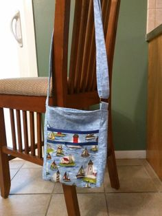 June 2015 2 zip hipster - pockets inside and out sailing blue theme front view