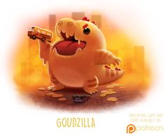 Daily Paint 1508. Goudzilla by Cryptid-Creations