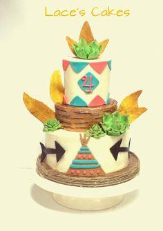 Pow wow cake, teepee, feathers.