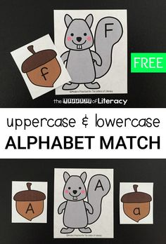 This squirrel and acorn alphabet match is a great activity for preschoolers and kindergarteners to practice upper and lowercase letters this fall! Fall Preschool Activities, Alphabet Activities, Learning Activities, Preschool Alphabet, Alphabet Crafts, Preschool Class, Literacy Stations, Alphabet Letters, Indoor Activities