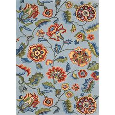 @Overstock - Primary materials: 100-percent polyester  Pile height: 0.50 inches  Style: Transitional  http://www.overstock.com/Home-Garden/Peony-Blue-Floral-Rug-36-x-56/6193429/product.html?CID=214117 $98.99