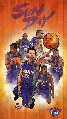 NBA Phone Wallpaper -  Artist: Kim MinSuk (김민석) #Yellowmenace #basketballart #PhoenixSuns + http://yellowmenace8.blogspot.com/2015/04/art-minsuk-kim-nba-2014-15-season-in.html
