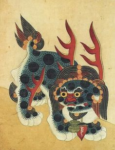 Minhwa 민화. The haetae is an imaginary beast which resembles a lion with small horns. The haetae was regarded as having supernatural powers to prevent such disasters as fires, and thus statues of haetaes were often installed at such places as the entrances to palaces.