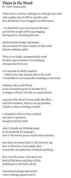 """There is No Word"" - Tony Hoagland."