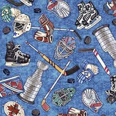 Hockey Fabric / Everything Hockey on Blue Fabric / Face Off Cotton Fabric by the yard / Quilting Treasures 26346 / Fat Quarters and Yardage by SewWhatQuiltShop on Etsy
