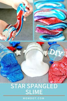 Looking for Memorial Day Slime? What I love about slime, is that you can get creative to make it to match any holiday, TV show, and book- it's a perfect DIY that everyone loves to touch! Plus, making slime is easy! So check out the tutorial for this red, white and blue slime, perfect for kids to get patriotic this holiday. #forkids #diy #easyrecipe #memorialday #slime