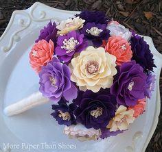 Papier fleur Bouquet Bouquet de mariée par morepaperthanshoes