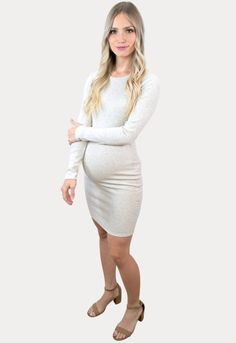 Long-Sleeve Ribbed Maternity Dress - Sexy Mama Maternity This ultra stylish ribbed maternity dress is the perfect addition to your mama wardrobe! Our form fitting, trendy dress will provide a flattering appearance for every Mama to be. As a part of our light-weight collection, this piece is perfect for all seasons! Great to wear throughout all nine months of pregnancy and beyond.