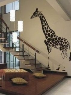 Custom Color PopDecals - Lovely giraffe removable vinyl art wall decals home murals Giraffe Decor, Giraffe Art, Giraffe Bedroom, Baby Giraffes, Elephant, Vinyl Wall Art, Wall Decals, Wall Stickers, Giraffe Pictures