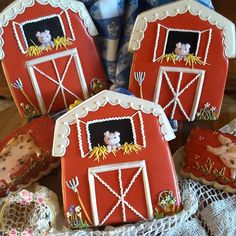 Barn cookies,  farm cookies, pig cookies,  decorated cookies