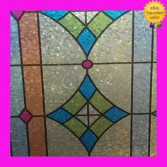 stained glass Window Film   frosted   static cling window frosting   FREE P&P