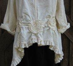 linen top ruched with roses