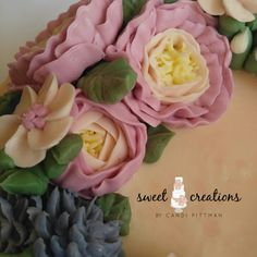 Buttercream flower wreath cake with ganache drip and buttercream watercolor finish #sweetcreationsbycandi