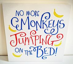 Jumping Monkeys Canvas, Monkeys Wooden Sign, Handpainted, Playroom, Nursery, Kids room, Kids bedroom, Nursery Rhyme, Animals, Monkeys, Jump by FioreCrafts on Etsy In A While Crocodile, Kids Bedroom, Room Kids, See You Later Alligator, Animal Quotes, Nursery Rhymes, Wooden Signs, Playroom, Monkeys