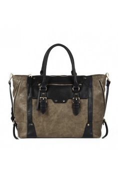 Brown winged tote bag with exposed zippers and hardware detailing