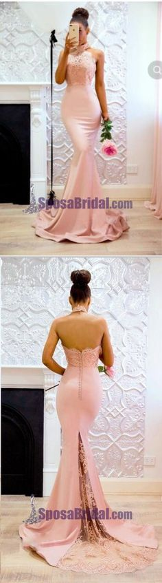 Halter Blush Pink Peach Lace Modest Mermaid Popular Bridesmaid Dresses with train, Fashion Prom The long prom dresses are fully lined, 4 bones in the bodice, chest pad in the bust, lace u Blush Bridesmaid Dresses Long, Pink Bridesmaid Dresses Short, Blush Dresses, Pink Mermaid Dress, Or Rose, Rose Gold, Peaches, Train, Popular