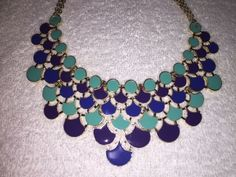 GORGEOUS AMRITA SINGH GOLD TONED OMBRE TURQUOISE BIB NECKLACE- NEW W/ TAGS! #AmritaSingh