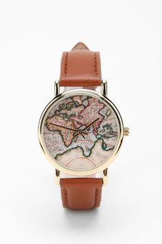 CRAZY IN LOVE!! New Around the World Leather Watch from Urban Outfitters. Reminds me to dream every time I read the time ♡ #foundonkish #urbanoutfitters #watch #leather #excited #travel #wanderlust #dream #world #map #plans #style #fashion
