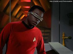 The Star Trek Next Generation crew have travelled back in time and taken over the Enterprise from the original series. Geordi in TOS uniform Watch Star Trek, Star Trek Tos, Star Wars, Star Trek Images, Star Trek Characters, Star Trek Universe, Star Trek Ships, Big Star, So Little Time