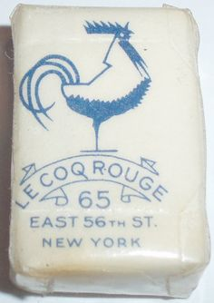 Simple vintage packaging on a courtesy soap (or butter wrap?) from Le Coq Rouge, New York. What a sweet stylised cockerel! Vintage Packaging, Soap Packaging, Pretty Packaging, Brand Packaging, Packaging Design, Product Packaging, Lettering, Typography Logo, Typography Design