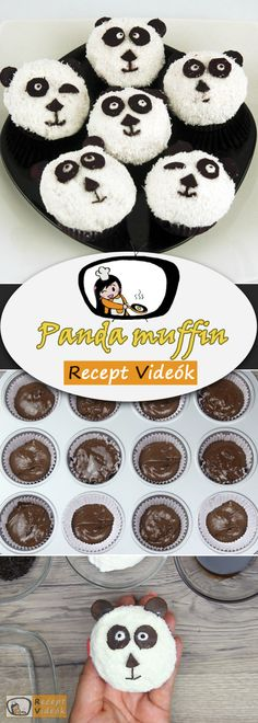 PANDA MUFFIN RECEPT VIDEÓVAL - panda muffin készítése Muffin Recipes, Cake Recipes, Baking Muffins, Food Videos, Recipe Videos, Yummy Food, Delicious Recipes, Easy Meals, Cookies