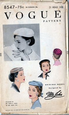 """1955 Vintage  Mr. John Vogue Woman's Hat """" Pillbox""""  Pattern. My kind of hat for everyday wear."""