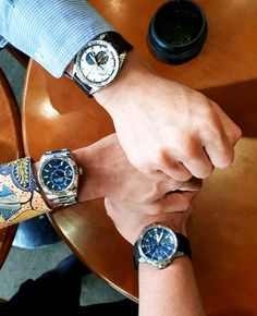 Splash of blue dials from three buddies:  - Zenith El Primero - Rolex Sky Dweller - IWC Aquatimer