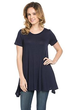 0936589127406a Frumos Womens Short Sleeve Comfy Loose Fit Long Tunic Top. Made in USA. Long