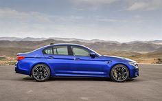 Descargar fondos de pantalla El BMW M5, 2018, vista lateral, azul m5, el nuevo m5, sedán coches alemanes, BMW