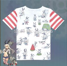 Anime Kantai Collection Shimakaze kanmusu Cartoon Cosplay Ventilate T-Shirt Summer O-neck Short Sleeve T-shirt New Free Shipping