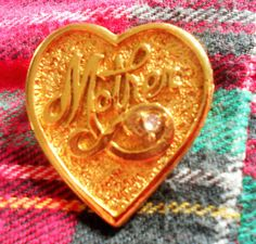 Vintage Heart Mother Brooch Rhinestone Pin by VintageVarietyFinds