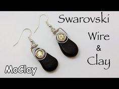 DIY Earrings - Swarovski, wire and polymer clay Wire Wrapped Earrings, Wire Earrings, Earrings Handmade, Diy Earrings Tutorial, How To Make Earrings, Polymer Clay Earrings, Jewelry Making, Diy Jewelry, Fashion Jewelry