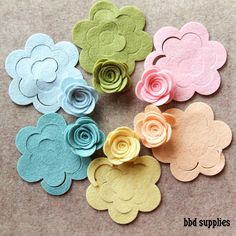 Wool Dream - Medium 3D Rolled Roses - 12 Die Cut Wool Blend Felt Flowers - Unassembled Rosettes