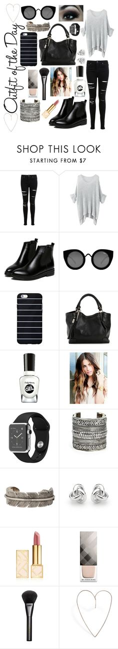 """""""OOTD"""" by annalisa-xoxo ❤ liked on Polyvore featuring Petit Bateau, Miss Selfridge, WithChic, Quay, Sally Hansen, Sole Society, Yves Saint Laurent, Georgini, Tory Burch and Burberry"""