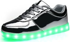 Poppin Kicks LED Light Up Shoes Boy Girl Luxury Metallic Leather Low Top Sneakers Silver 5 M US Big Kid - Brought to you by Avarsha.com