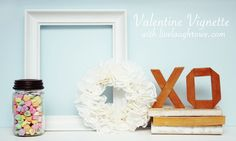 A Valentine Vignette with Paper Doily Wreath at livelaughrowe.com #valentines #crafts