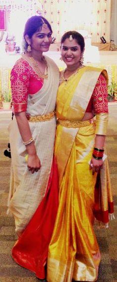 Muggu design embroidery work on blouses -obridesmaids in saree Indian Bridal Sarees, Indian Bridal Fashion, Saree Blouse Patterns, Saree Blouse Designs, Indian Attire, Indian Wear, Indian Dresses, Indian Outfits, Wedding Saree Collection
