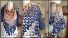 Háčkovaná šatka - Tide Wave/Crocheted Shawl - Tide Wave (english subtitles) Shawl, Kimono Top, Waves, English, Knitting, Youtube, Fashion, Crochet Cape, Moda
