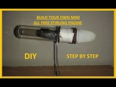 How to Build Your Own mini all free piston Stirling engine at 5 minutes - tutorial Alternative Energie, Stirling Engine, Diy Step By Step, Steam Engine, Build Your Own, Chemistry, Cool Things To Buy, Engineering, Building