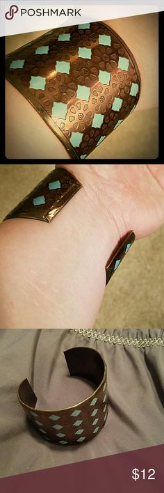 Faux turquoise cuff Awesome cuff, adjustable, great addition to a western outfit! Jewelry Bracelets