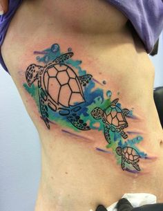 Watercolor sea turtles tattoo by Chris Burke at Serenity Ink Milwaukee, Wi - Imgur:
