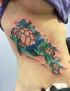 Watercolor sea turtles tattoo by Chris Burke at Serenity Ink Milwaukee, Wi - Imgur: