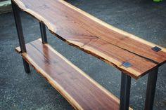 Sofa Table - Black Walnut and steel wood walnut steel sofa table console table library table live edge rustic industrial resin modern narrow table skinny