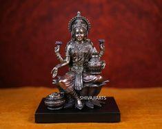 Bronze Lakshmi Statue With Wooden Base 8Inches Goddess Of Wealth Immortal Nectar Lakshmi Statue, Krishna Statue, Diya Lamp, Good Luck Gifts, Brass Statues, Altar Decorations, Goddess Lakshmi, Hindu Art, Religious Gifts