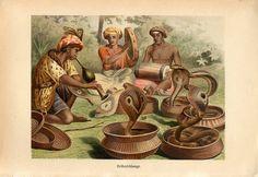 1894 COBRA SNAKES LITHOGRAPH - original antique print - herpetology reptile venomous snake scene from India Asia - snake charmer pungi by antiqueprintstore on Etsy