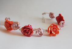 Mothers Day Bracelet,Pink and Peach Rose Bracelet, Pink Wire Wrap Bracelet, Rose Bead Bracelet