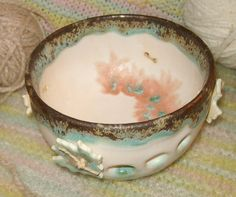 Traveling mini Yarn Bowl with Buttons set for knitting or crochet in pastel aqua and pink