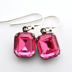 Rose Pink Crystal Earrings Swarovski Rhinestone by JewelryByMagda