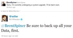 Brent Spiner and Wil Wheaton on Twitter